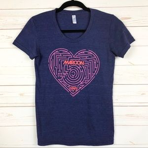 Maroon 5 Band Heart Graphic Tee Shirt Sz S